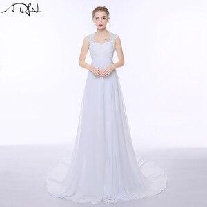 Image 1 - Женское шифоновое платье ADLN, элегантное пляжное платье с открытой спиной и шлейфом в стиле бохо, свадебное платье для беременных