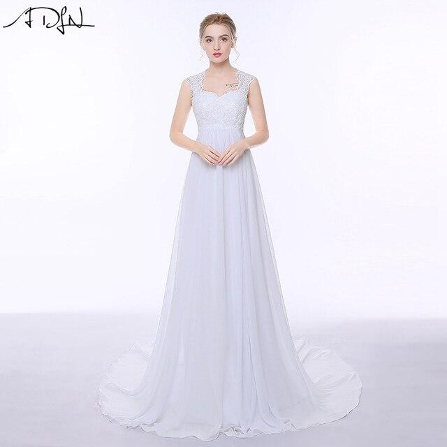 Женское шифоновое платье ADLN, элегантное пляжное платье с открытой спиной и шлейфом в стиле бохо, свадебное платье для беременных