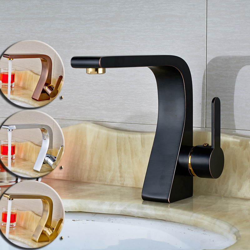 ФОТО Deck Mounted Luxury Basin Faucet Taps with Hot and Cold Water Single Handle Brass Vanity Sink Faucet4-Colors Choice