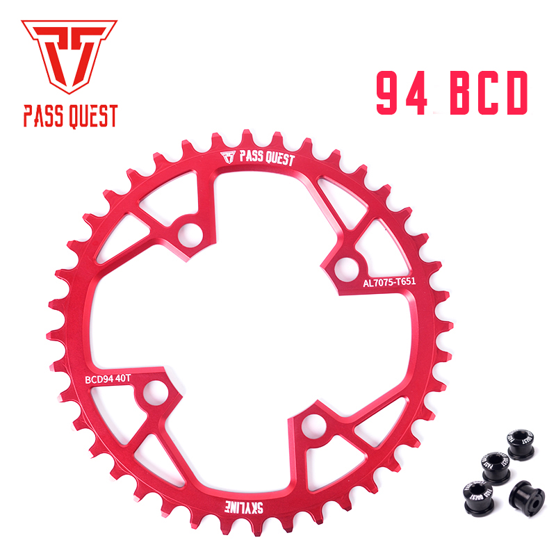 цена на PASS QUEST narrow wide chainring sprocket 94BCD MTB mountain bike chain wheel bicycle 32T 34T 36T 38T 40T crankset tooth plate