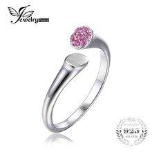 Jewelrypalace 925 plata esterlina creado zafiro rosa wrap diseño apilable anillo 6 7 8 tamaño ajustable mujeres anillo de la joyería fina