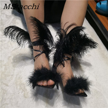 MStacchi Fashion Women Sandals Black Red Feather Gladiator High Heels Pumps For Women Party Escarpin Shoes Sexy Wedding Shoes