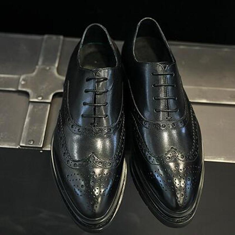 38 De Primavera Black Xingdeng Dos Sapatos Dedo 43 Vestido Oxfords Vaca Apontado Homens Tamanho Couro Britânico Brogue Negócios Camurça 00aUqwzp