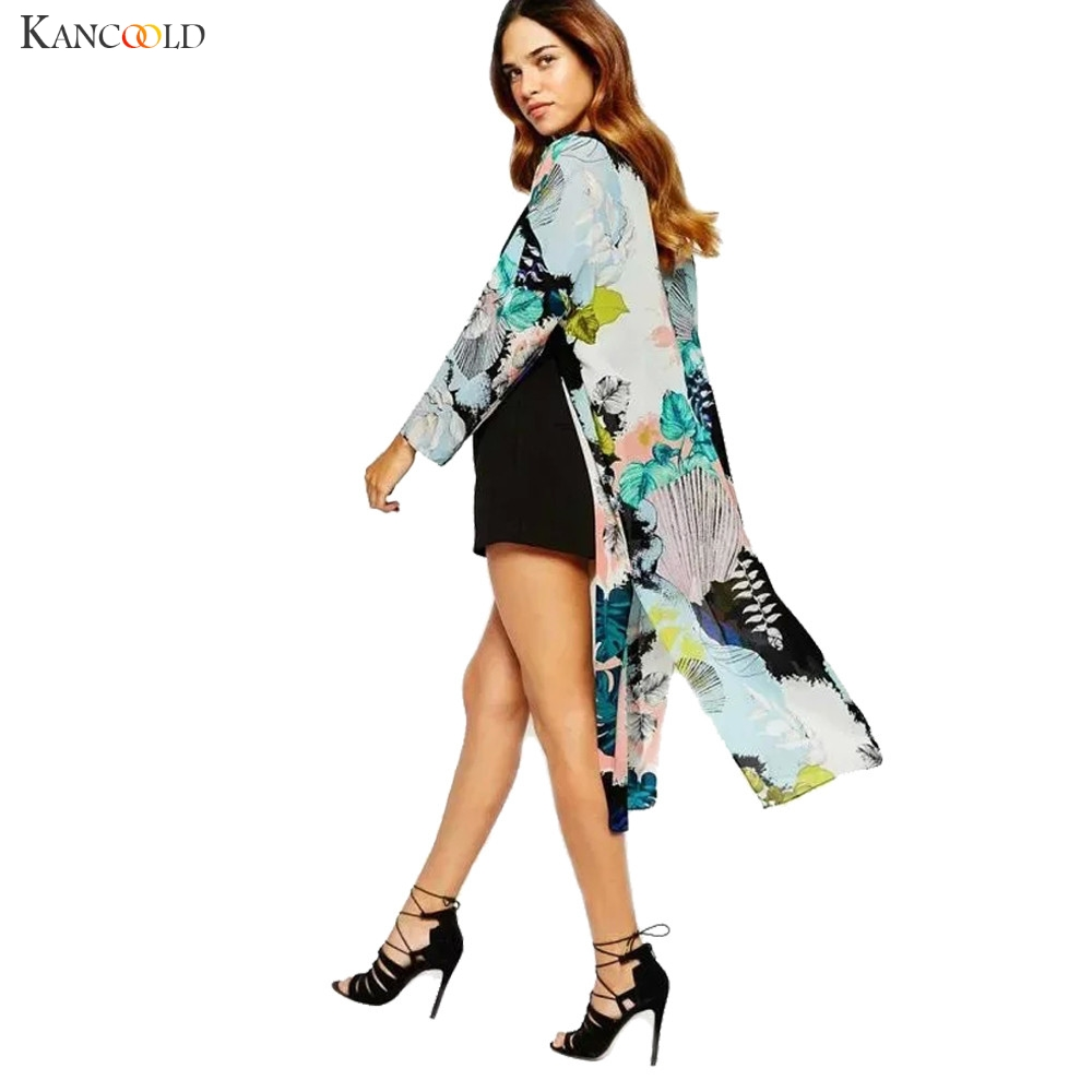 0e59badc63286 Modern Women Boho Flowers Printed Chiffon Shawl Long Kimono Cardigan  European Style Half Sleeve Loose Tops Cover Up Blouses Aug3
