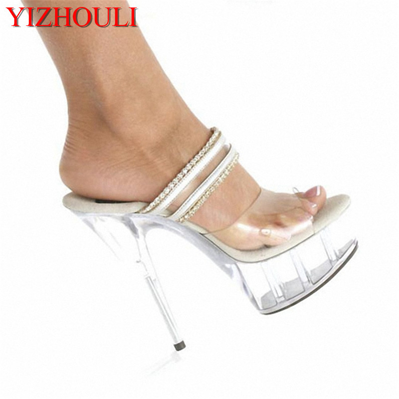 Fashionable sexy women feel high heels, transparent slippers 15cm heel heightFashionable sexy women feel high heels, transparent slippers 15cm heel height