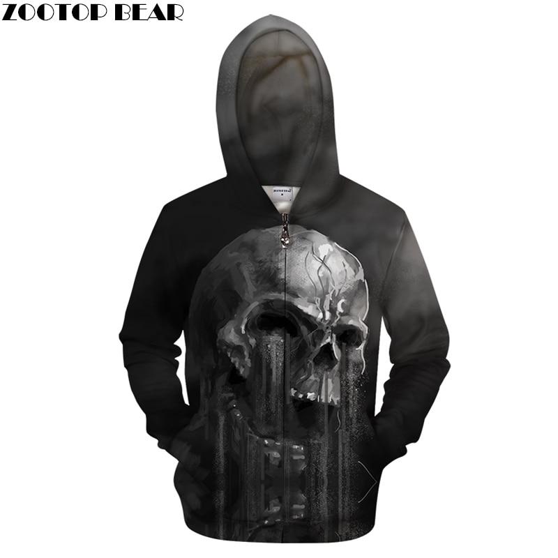 Funny Skull Printed Hoodies Men Hoody Zipper Tracksuit Anime Sweatshirts 3d Zip Pullover Streetwear Coat Drop Ship ZOOTOP BEAR