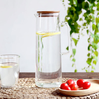 Simple Japanese Style Heat Resistant Glass With Bamboo Lid And Handgrip Plus Capacity 1500ML Tea Pot High Quality Juice Teapots