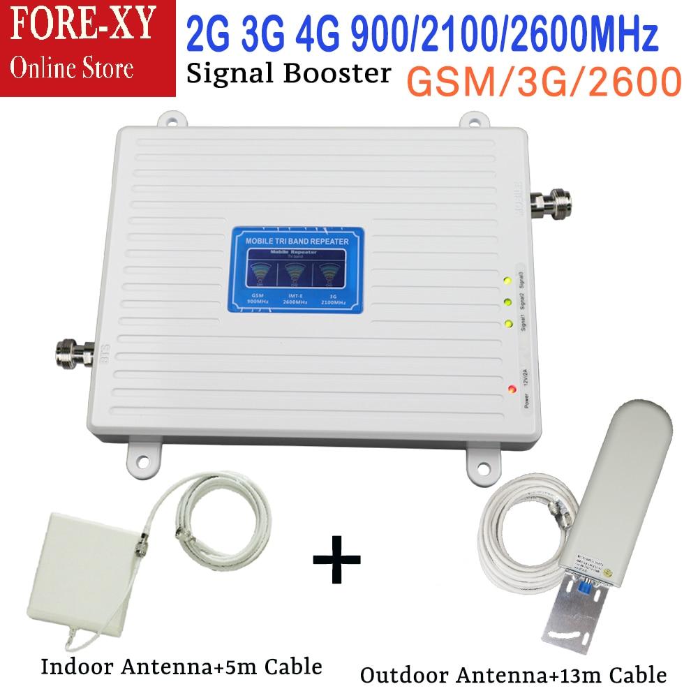 2G 3G 4G Cellulaire répéteur de signal GSM 900 WCDMA 2100 LTE 2600 Tri Bande 70dB écran lcd GSM 3G UMTS Signal Booster 4G Amplificateur