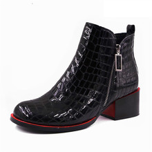 2019 Women Boots Genuine Leather Ankle Shoes Woman Winter Square Toe Block Heels Crocodile Print Boots Female Botas Mujer