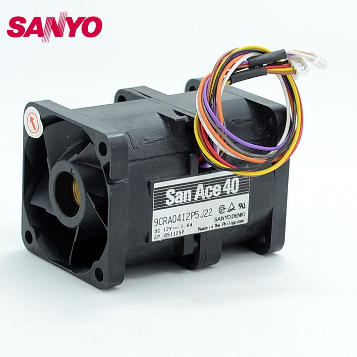 SANYO Original 9CRA0412P5J22 DC 12V 1.4A 4056 4CM 40mm 1U case server inverter axial cooling fans cooler new original sunon 4cm psd1204ppbx a 4056 12v 12 2w 800 3375 01 b0 cooling fan