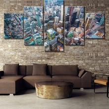 HD Print Large 5 Piece City Sky High Landscape Cuadros Decoracion Paintings on Canvas Wall Art for Home Decorations Decor