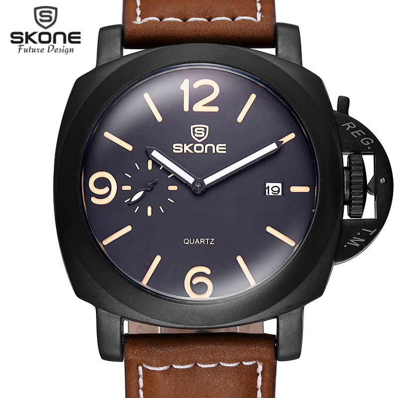 Boutique Edition SKONE Men Watch Luxury Brand Leather Strap Watch Date 1950 Army Military Sport Wrist Watch relogio masculino kmise concert ukulele solid spruce ukelele classical guitar head 23 inch uke beginner kit with gig bag tuner strap string picks