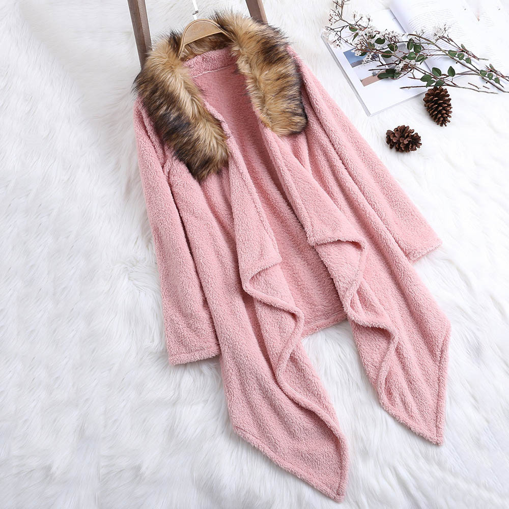 FeiTong Coats Woman Winter 2018 Blend Coat Ladies Plush Faux Fur Patchwork Solid Color Asymmetrical Coat Coats and Jackets Women