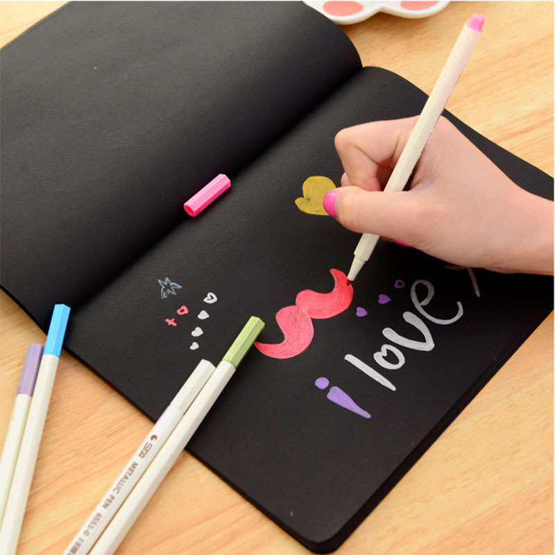sketch book diary black paper drawing notepad graffiti notebook set for painting office school stationery gifts artist supplies in notebooks from office