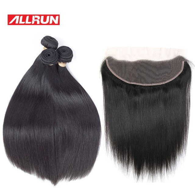 Allrun Malaysian Straight Hair Bundles With Frontal Closure 13*4 Human Hair Bundles With Closure 2/3 Pcs With Closure Non Remy