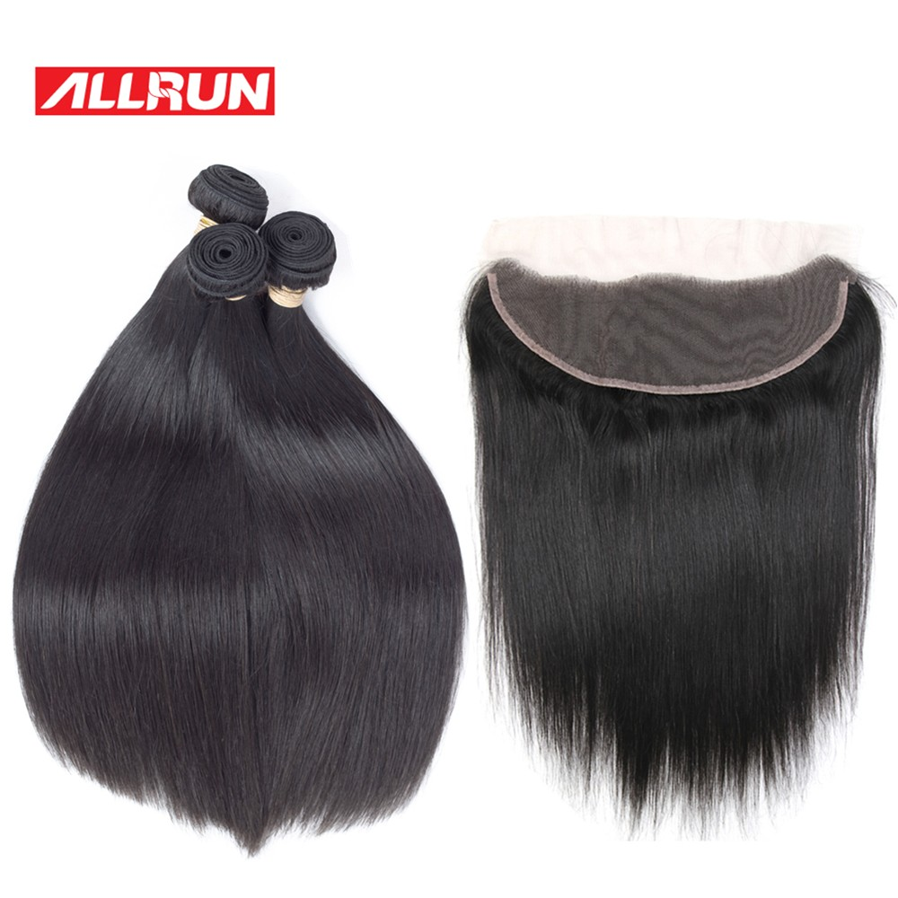 Allrun Malaysian Straight Hair Bundles With Lace Frontal 2/3 Pieces with Closure 13*4 Non-Remy Human Hair