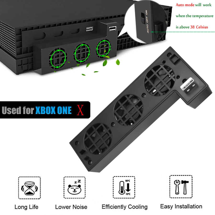Super Cooling Fan Cooler For XBOX ONE X , External Speed Cooling Fan With Extra USB Port For Microsoft XBox One X Console