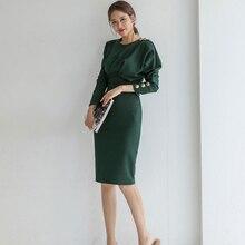 Элегантное однотонное приталенное женское платье с длинным рукавом и круглым вырезом, женское платье-карандаш, офисное женское платье средней длины, Vestidos