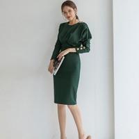 Eleagnt Solid Slim Waist Women Dress Long Sleeve O neck Female Pencil Dress Office Ladies Mid length Vestidos 2018