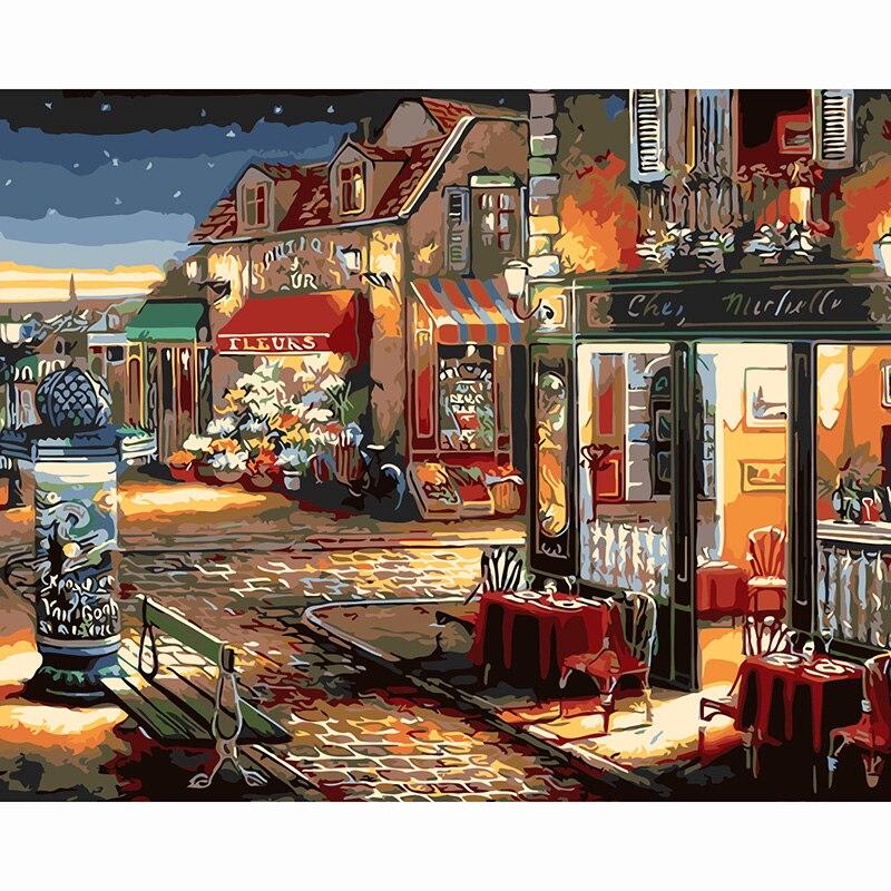 Уличный фонарь ночной вид на пейзаж DIY цифровой живописи маслом по номерам Европа абстрактная картина холст для Гостиная стены Книги по иск... ...