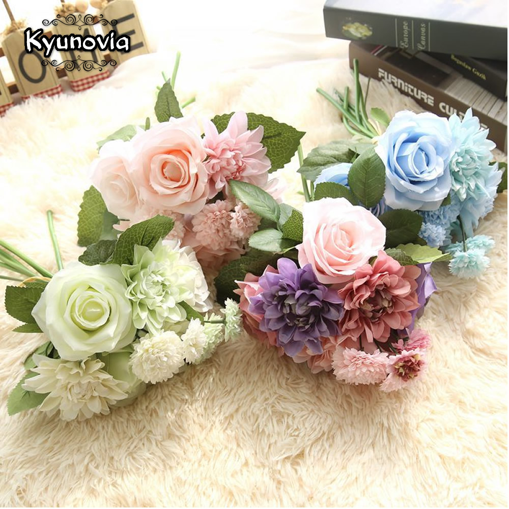 Kyunovia Ramos De Novia Artificiales Bridal Bouquet Bridesmaid Bouquet  Blue Flowers  Bouquet  White Wedding Bouquet D120