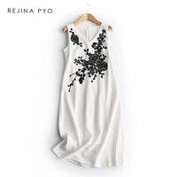 REJINAPYO Women Chic Black Floral Beading Slim Elegant Sleeveless V neck Dress High Waist Breathable Classic Dress Vestido