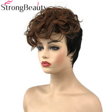 StrongBeauty женский синтетический короткий парик без косточек коричневые волосы кудрявые парики