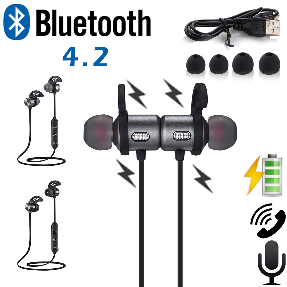 Oortelefoon Universele Magneet Bluetooth 4.2 Draadloze Sport Oortelefoon Oordopjes In Pain