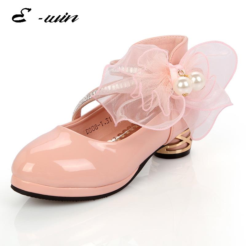 2016 Children Princess Sandals Kids Girls Wedding Shoes High Heels Dress  Shoes Bowtie Party Shoes For Girls White Pink Dropship-in Leather Shoes  from Mother ... 3ade9c0ffda9