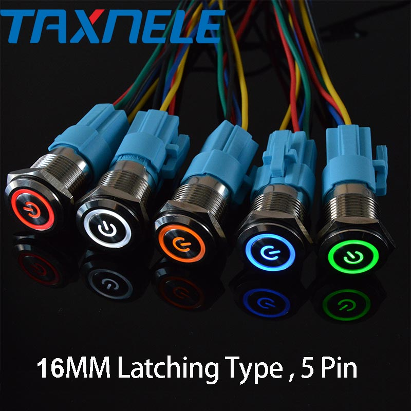 ON Push Button Switch Blue Led Indicator 110V 16mm -OFF- ON Momentary 3-way
