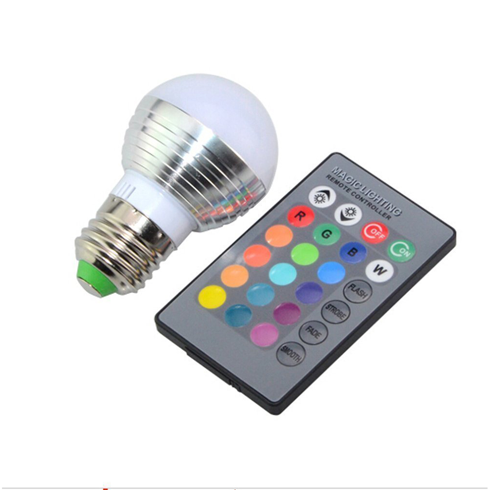 3W E27 E14 LED 16 Color Changing RGB Magic Light Bulb Lamp 85-265V RGB Led Light Spotlight + IR Remote Control