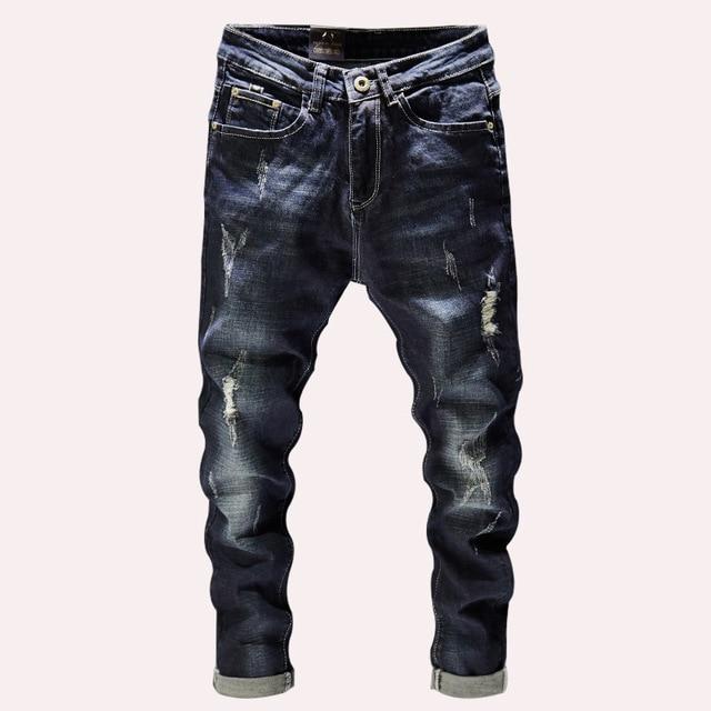 Milan Station Mens Casual Stretch Straight Leg Printed Moto Biker Skinny Jeans Denim Pants