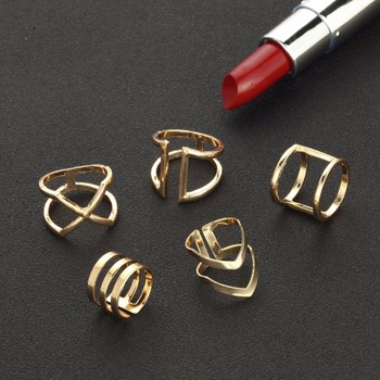 5 Pcs/ Set Classic Gold Rings 3