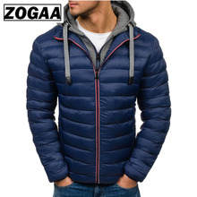 ZOGAA Mens Parka Jacket Thicken Warm Winter Windproof Jackets Hooded Cotton-padded Zipper Men 7 Colors