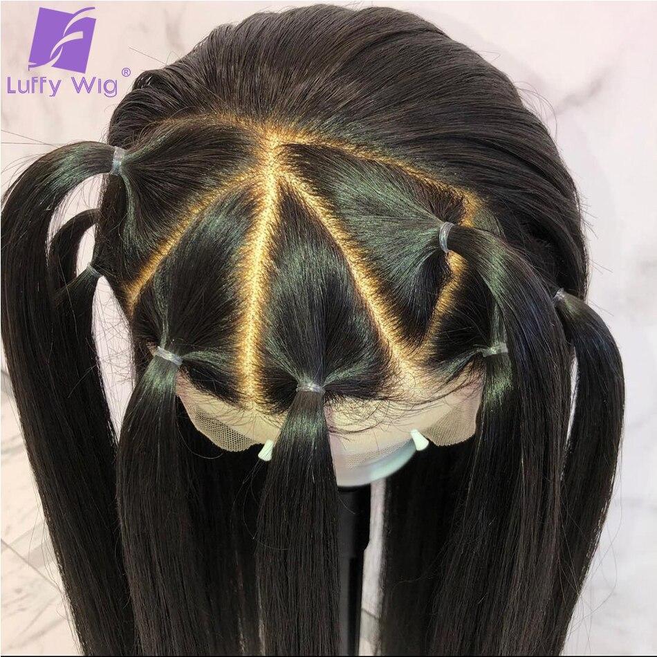 13x6 прямо Синтетические волосы на кружеве парик человеческих волос Выбеленные узлы предщипанный бесклеевой парик бразильский Волосы remy для... - 4