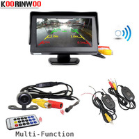 Koorinwoo Wireless Ajustable parking Guide line Car rear view camera front camera Remote control Video System With Car Monitor