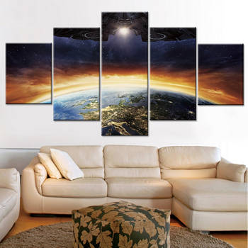 Dekor Modern Oturma Odası Duvar Sanatı Uzay Gemisi Gezegenler Sahne