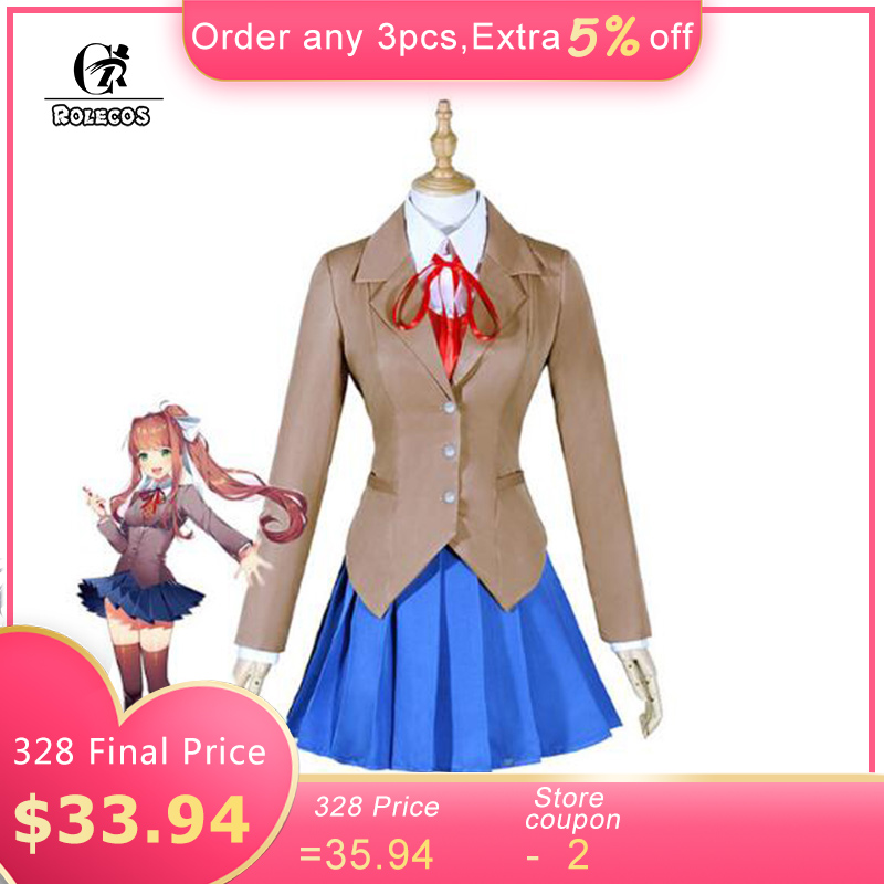 ROLECOS New Game Doki Doki Literature Club Cosplay Costumes Sayori Yuri Natsuki Monika School Uniform Full Set