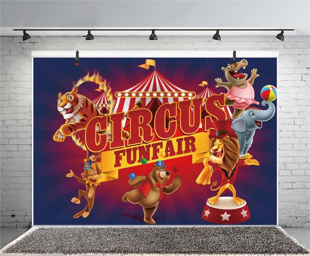 Laeacco Cartoon Animal Circus Cruise Babybarn Fotografiska Bakgrunder - Kamera och foto - Foto 6