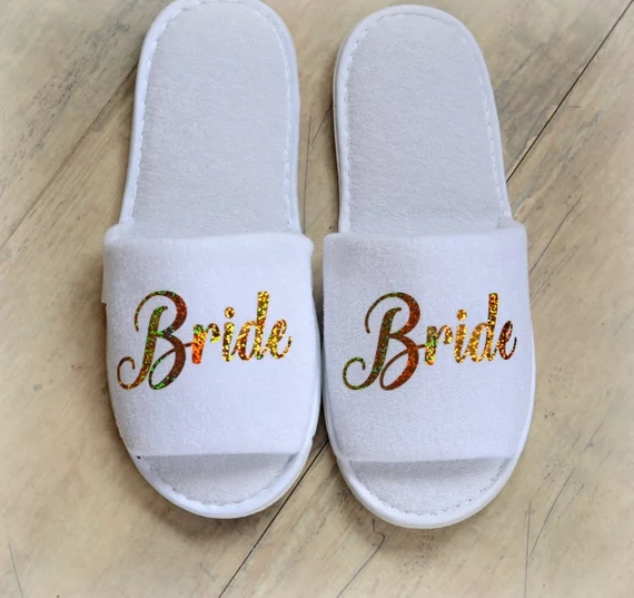 5be5f269aeb personalize glitter gold Wedding Slippers Bride Slippers Groom Slippers  custom Print shoes Black slippers-in Party DIY Decorations from Home    Garden on ...