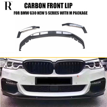 G30 M Performance Style Carbon Fiber Front Bumer Lip Spoiler with Splitter for BMW G30 530 540 with M Package 2017 UP
