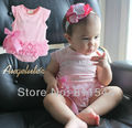 4pcs/lot Wholesale Pink Fantasias Infantil Baby Romper for Girl Jumpsuit 2015 New Born Infant Clothes Bebe Clothing Outerwear