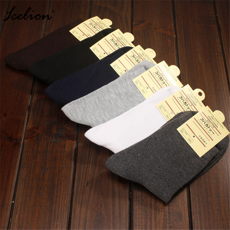 IceLion Fashion New Autumn Winter Men Sock Comfortable Casual Solid Color Crew Cotton One Size Male Breathable Socks