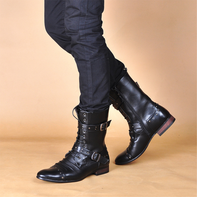 6b78166532 England Male Rock boots punk knight knee-high Riding Parade Western boots  platform leather rivet Performance Cowboy joker boots
