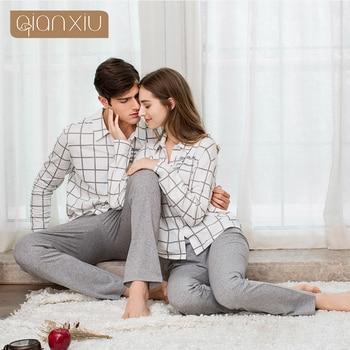 Qianxiu 2017 couple style men's pajamas suit cotton material classic plaid pajamas 1782