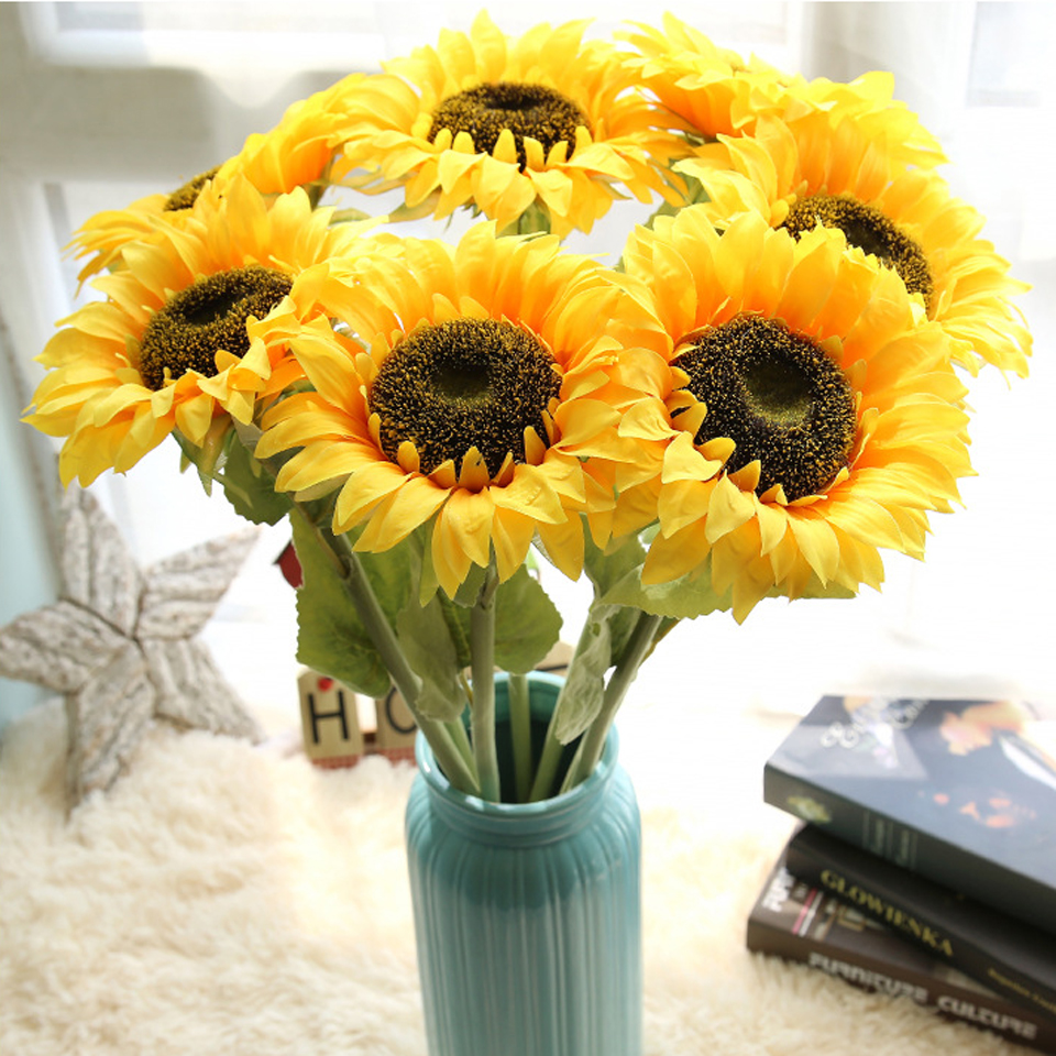 1pc sunflowers real touch artificial flowers plants pu flores for