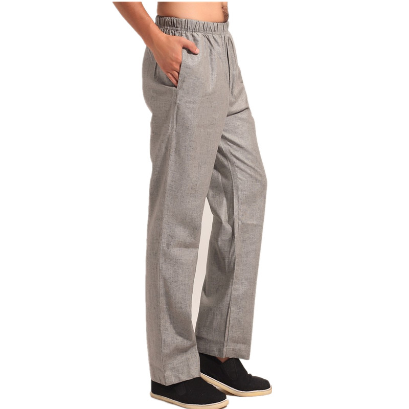 New Arrival Gray Chinese Mens Kung Fu Trousers Cotton Linen Pants Wu Shu Clothing Size S M L XL XXL XXXL MN004
