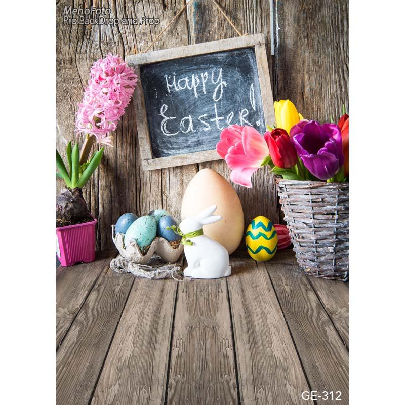 Custom happy Easter vinyl cloth flower eggs wood floor ...