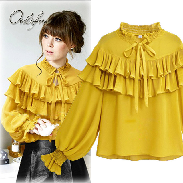 fe79d3e33fe075 Ordifree 2018 Summer Women Chiffon Blouse Shirt Long Sleeve Female Top Plus  Size Cute Yellow Black White Ruffle Blouse XXXL 4xl
