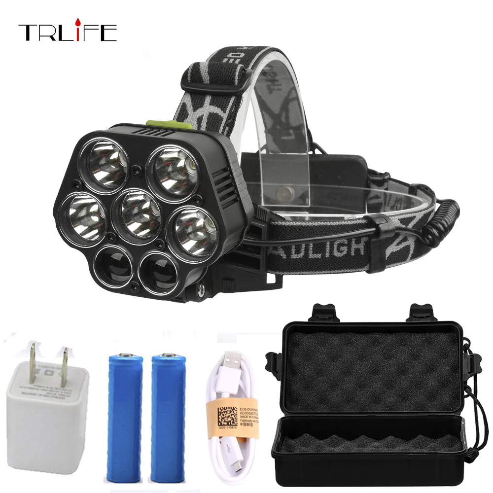 7 <font><b>LED</b></font> 20000lums Headlamp USB Rechargeable CREE XML-<font><b>T6</b></font> White red green blue Headlamp+2*18650 battery+charger+USB Cable+free box